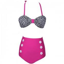 Patrón de punto de cintura alta botón Bikini traje de baño