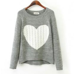 Suéter cardigan de punto de corte irregular con patrón de corazón