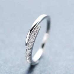 Oro Chapado Diamante de imitación Apertura Plata anillo