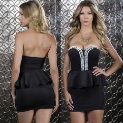 Vestido de fiesta vestido de fiesta de volantes sexy rhinestone