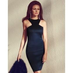 Vestido elástico azul marino de New Fashion Unique