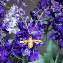 Collar pendiente de abeja único hecho a mano de plata de joyería