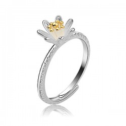 Dulce Dorado Flor Brote S925 Plata anillo