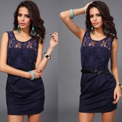 Vestidos de mujer de encaje floral de moda cinturón decorativo