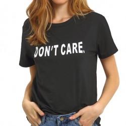 Impresión creativa de las letras No cuido la camiseta de manga corta