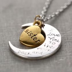 Letras familiares Creciente Luna Corazón Colgante Original Suéter Collar