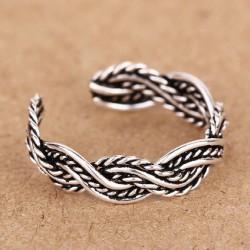 925 Libra esterlina Plata Mano Tejido Trenzado Apertura anillo