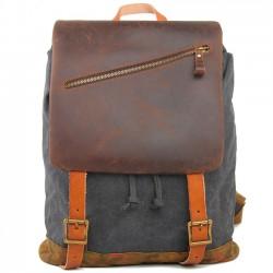Retro mochila de viaje grande Hecho a mano grueso cuero real empalme al aire libre mochila de los hombres