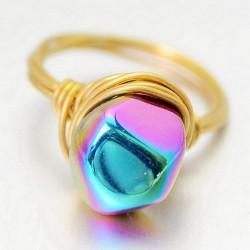 Asimétrico Natural Multicolor Cristal Mano Devanado Latón anillos