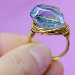 Mano Devanado Latón Asimétrico Natural Transparente Orihalcon anillos