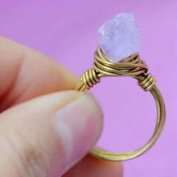 Original Natural Asimétrico Amatista Hecho a mano Latón Trenzado anillos