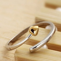 Rosa Oro Chapado Amor Apertura anillo 925 Libra esterlina Plata