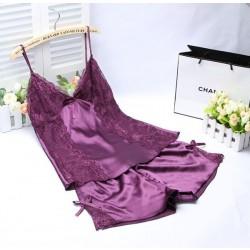 Verano Sexy Seda Casa Cómodo Dos piezas Pijama