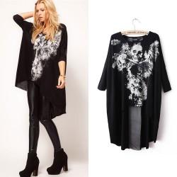 Fashion Skull Print Dovetail Sleeve T-shirts