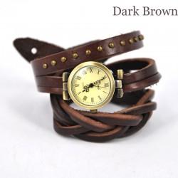 Reloj con envoltura de cuero retro de Roma con trenza retorcida en marrón oscuro
