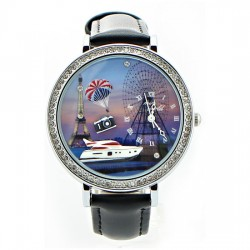 Yacht Eiffel Tower Ferris Wheel Rhinestone Trim Watch