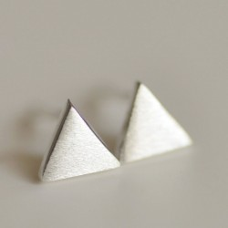 Fresco Dulce Sencillo Triangular Plata Aretes Semental