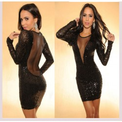 Sexy Spliced Perspective Backless Sequined Party Dress
