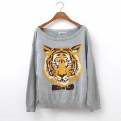 Cool Tiger Head Sleeve Sweater&Cardigan