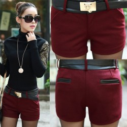 Elegant Leather Stitching Woolen Shorts