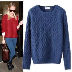 New Fashion Twisting Rhombus With Fish Sweater&Cardigan