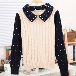 Sweet Polka Dots Braid  Twist  Long-Sleeve Sweater&Cardigan