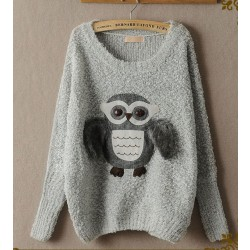 New Cute Owl Wool Bat Sweater&Cardigan