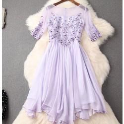 Vestido de partido del vestido del remiendo de Silm del bordado hecho a mano único