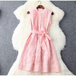 Vestido de partido y vestido bordado sin mangas color sólido plisado de presión