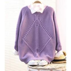 Vintage Purple Raglan Twist Sleeve Sweater