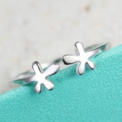 Creativo Fresco flores Libra esterlina Plata anillo