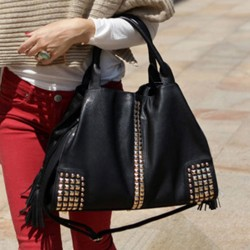 La nueva manera clásica remaches el bolso grande del bolso del mensajero del bolso de hombro de la capacidad