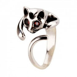 Linda 3D Gato Plata Animal anillo