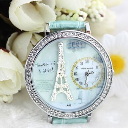 Polymer clay cartoon rhinestones romantic Paris Crystal Tower retro watch