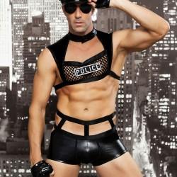Sexy Bar Club nocturno Cosplay Rendimiento Policía Uniforme Hombre Lencería