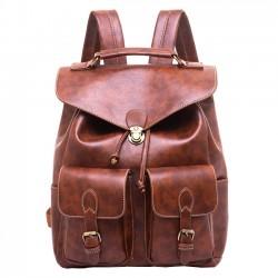 Mochila escolar retro grande con dos bolsillos PU ocio estudiante mochila escolar