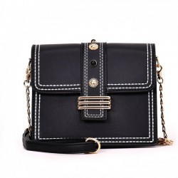 Elegante bolsa de mensajero con cadena, cuadrada, señora, botón, bandolera