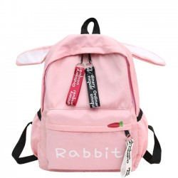Mochila escolar de lona para niña de mochila con orejeras de conejo grande para estudiantes grandes