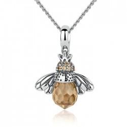 Colgante de abeja de cristal único Collar animal Collar de plata para mujer