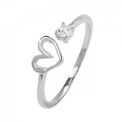 Anillo abierto romántico del corazón de la muchacha del gato de cristal de plata del amor