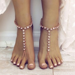 Ocio Playa Yoga Aleación Diamantes de imitación Cadena Tobillera Anillo Tobillera