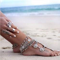 Tobillera de metal vintage borla moneda retro accesorio de pie para mujer