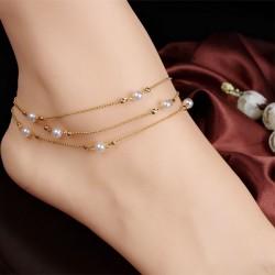 Tobillera de mujer de múltiples capas de perlas de cadena de cuentas de cobre