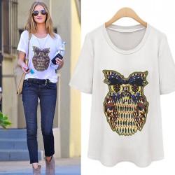 Nueva camiseta floja impresa búho precioso de los animales