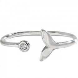 Linda sirena de espuma de diamantes de imitación de cola de pez anillo de plata abierto de las mujeres