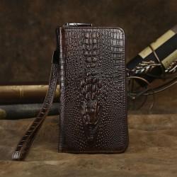 Cartera de cocodrilo 3D retro Patrón de piel de cocodrilo grande y largo Bolso de embrague de teléfono de bolso de negocios hecho a mano