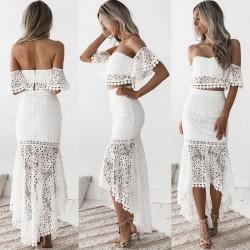 Falda lápiz sin espalda bandeau de encaje dulce Conjunto de dos piezas Vestido largo de verano hueco