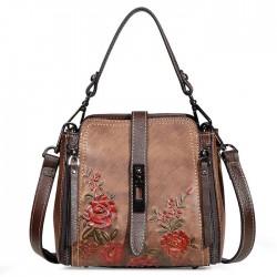 Bolso de hombro retro con cremalleras verticales con doble hebilla y flor