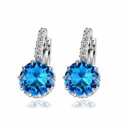 Elegante Azul Dorado Pendiente & Oreja Hebilla