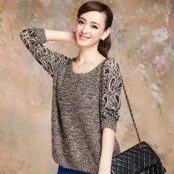 Suéter de punto de moda de encaje hueco flor Decolletage suéter